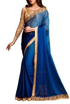 Blue Chiffon Embroidered Saree by Stylee Lifestyle, Saree with Blouse Piece #saree #indianwear #ethnicwear #traditional #indianoutfit #fashion #indianfashion #sareewithblouses #ootd #potd #colorful #pretty #beautiful #glitstreet