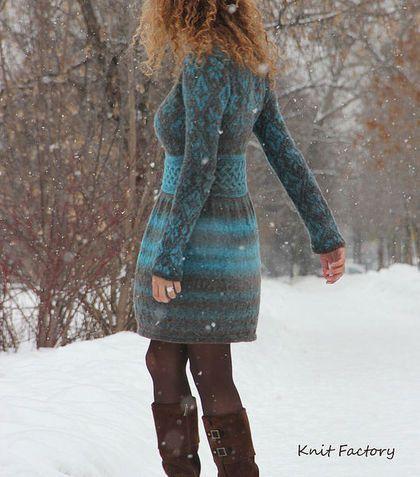 """Купить Платье """"Snowflake"""" - платье, вязаное платье, бирюзовый цвет, зимнее платье, шерсть, снежинки"""