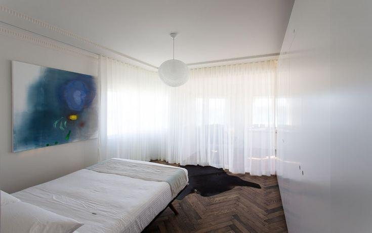 Bondi Apartment - Master Bedroom with sheer curtain