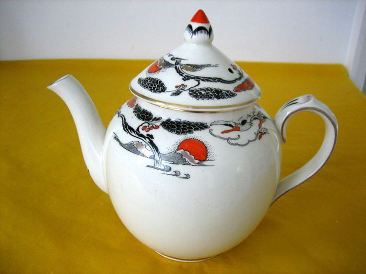 RARE ANTIQUE c.1930 BOOTHS CILICON CHINA TEA POT 1Pt,crazing &some wear on gold