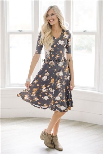 Gray Peach Fall Floral Modest Church Dress, Bridesmaid Dress, Church Dresses, dresses for church, modest bridesmaids dresses, trendy modest dresses, modest womens clothing, affordable boutique dresses, cute modest dresses, mikarose, best church dresses