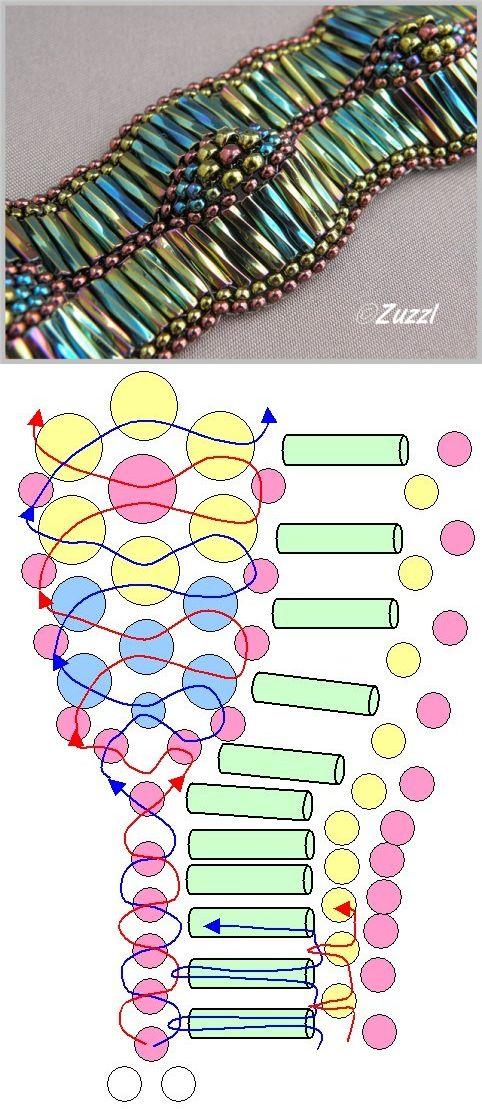 Волнистый браслет из бисера схема. Как сделать браслет из стекляруса | Лаборатория домашнего хозяйства