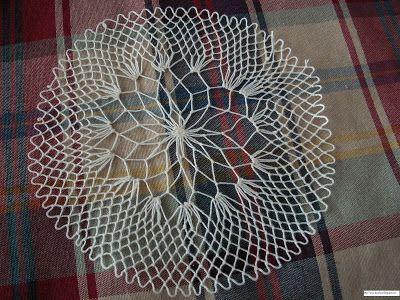 Encaje de Malla Bordada/ Filet Lace