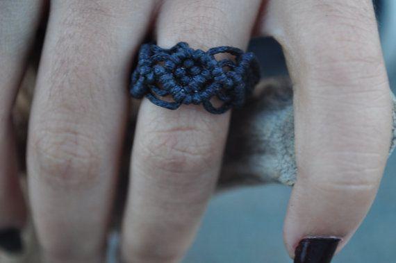 Handmade Black Macrame Ring by LunaMater on Etsy