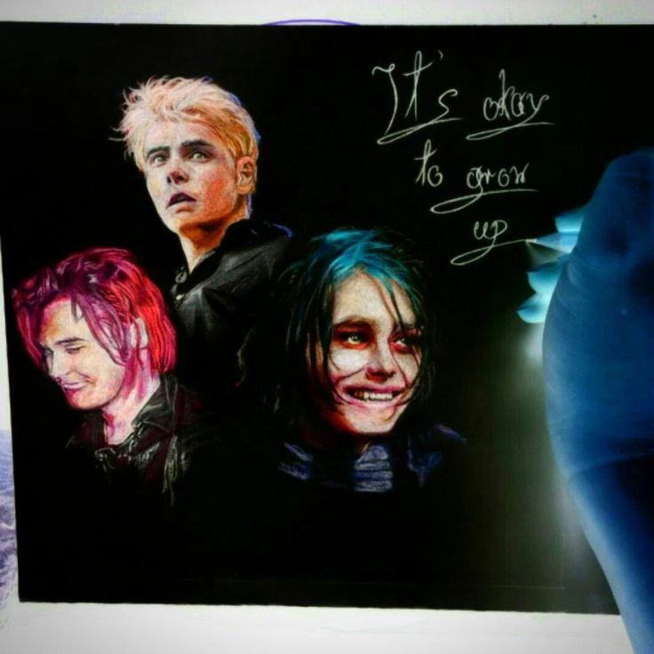 Gerard Way fanart inverted art colored pencil