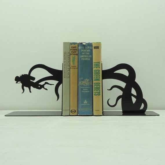 Scuba Diver Tentacle Attack Bookends  Free by KnobCreekMetalArts, $64.99