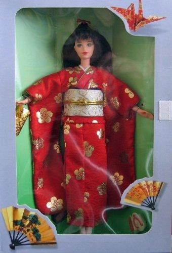 Barbie Japanese Happy New Year Osbogatsu 1995  Barbie Happy New Year #Japanese comes dressed in a formal kimono, a gold & white sash around her waist with a gold cord that holds it in place, a sleeveless white slip is under the long sleeved kimono, Japanese #sandals.