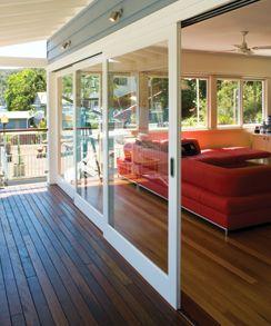 Glass sliding doors with white frames - Centor