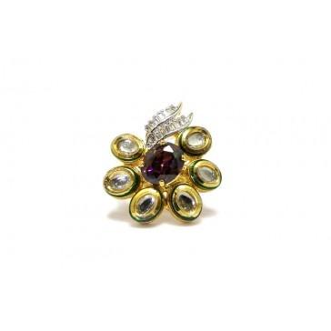Ethinc Ring Studded with Kundan Polki and Cz's - Fashion Rings - Fashion Bling