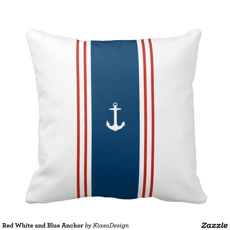 Red White and Blue Anchor Pillow