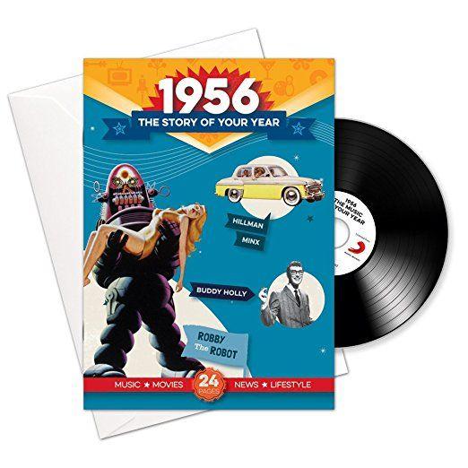 1956 cumpleaños o aniversario regalos - 1956 4-en-1 tarjeta y regalo - Historia de su Año, CD, Music Download - 15 Gráfico originales Canciones - Presente Retro Par...