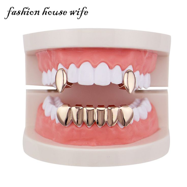 Fashion House Wife Rose Gold Teeth Grillz Hiphop Top&Bottom Grillz Dental Vampire Teeth Caps Halloween Jewelry Party LD0112 #Affiliate