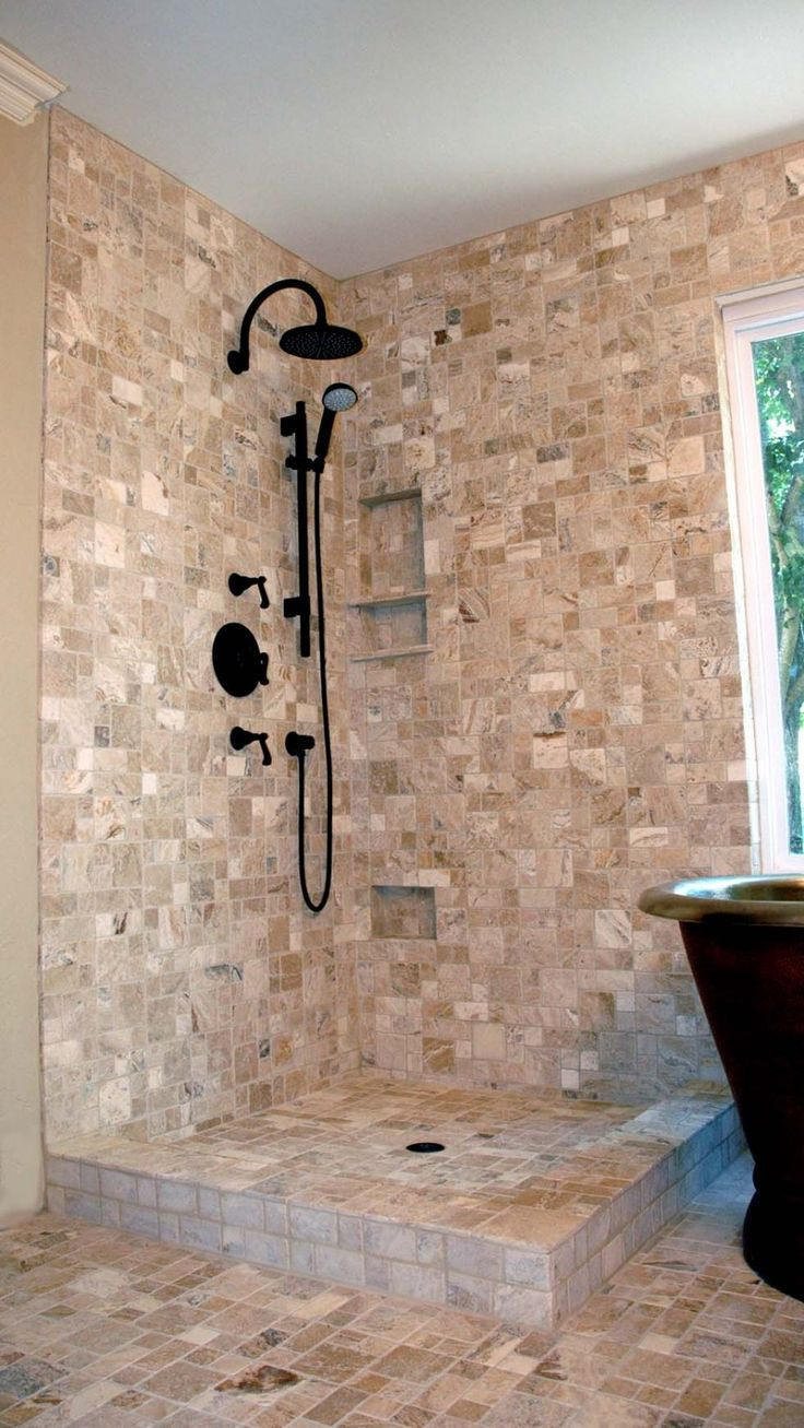 Relaxing Stone Shower for Fun Shower : Modern Black Shower Big Window Contemporary Stone Shower Design