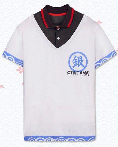Silver Soul white Polo shirt for boys Sakata Gintoki design short sleeves tee