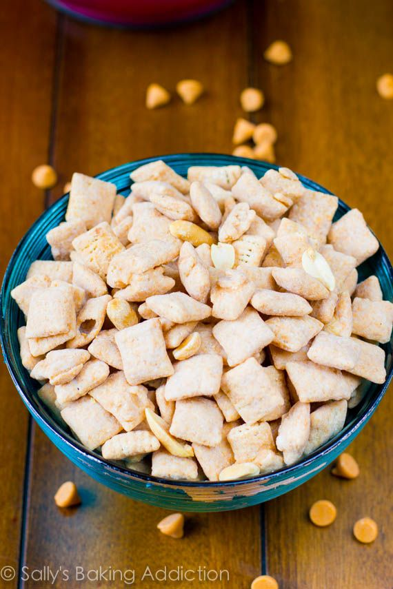 Butterscotch and peanut butter puppy chow/chex mix. This stuff is dangerously good!