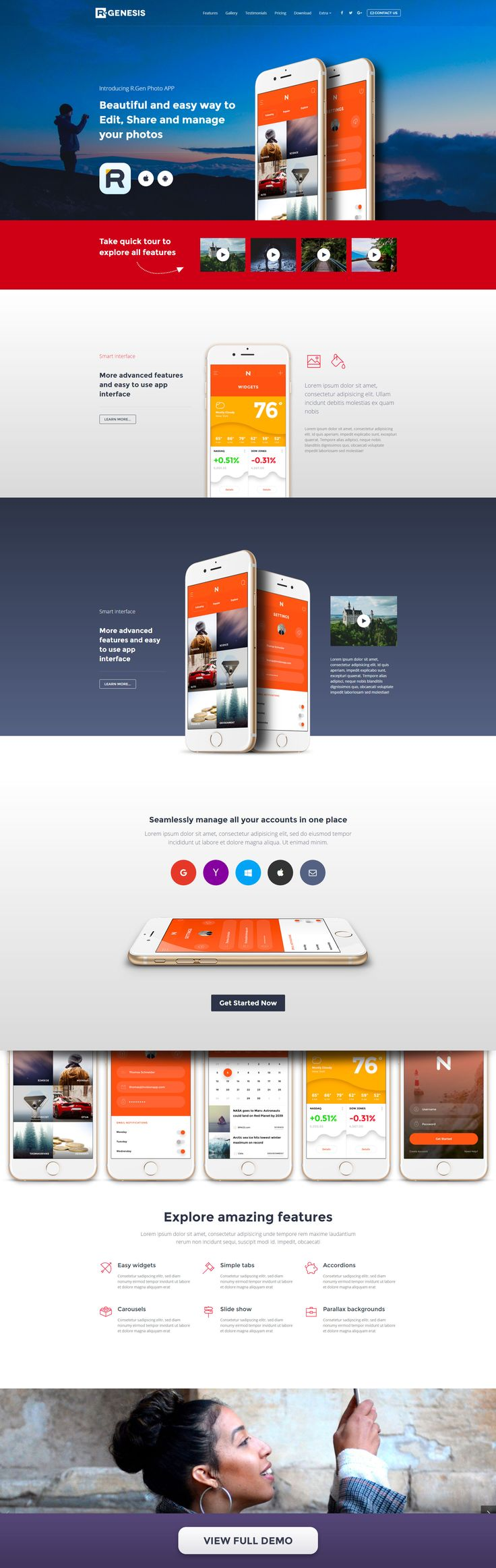 Photo app landing page concept