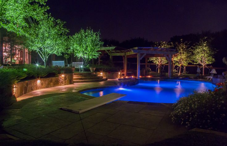 #Dallas Landscape Lighting installed Stone Walkway, Landscaping, Landscape Lighting / Tree Down lighting / Step Lighting / Wall Lighting, Pool Lighting, Arbor, Arbor Lighting, & Deck done by - FREE estimates! 214-202-7474 http://www.dallaslandscapelighting.net/contact/ #dallaslighting #outdoorlighting #poollights #poollighting #epicbackyard #rockwalltx #landscapelighting