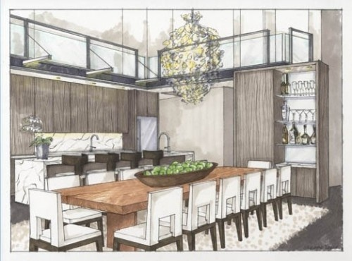 Interior Design Sketches Kitchen 63 best marker rendering interiors images on pinterest | interior
