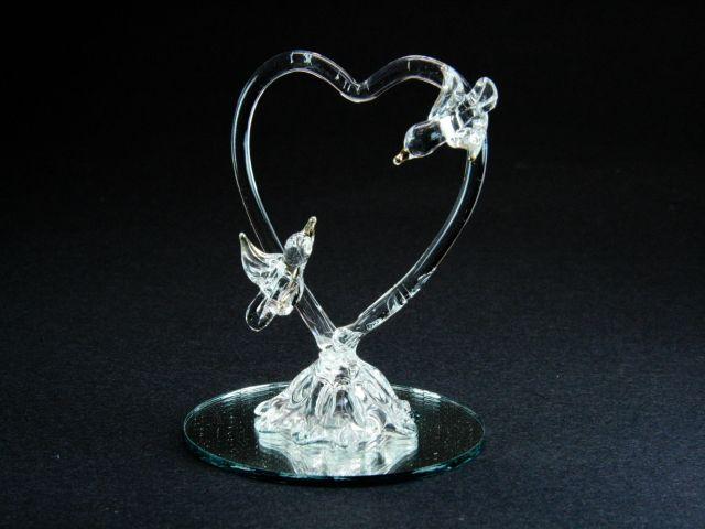 contenant drages mariage cur colombe sur miroir pour drages matire verre dimensions - Bonbonnire Mariage En Verre