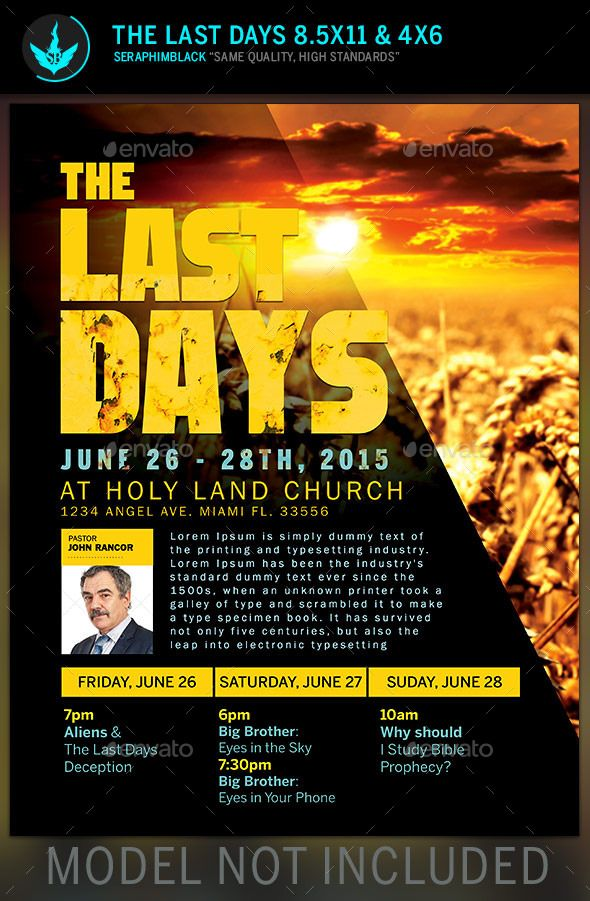 The last days church flyer template photoshop flyer for Free church flyer templates photoshop