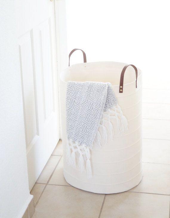 Extra large, oversized laundry hamper. Big storage basket. White Scandinavian inspired home decor
