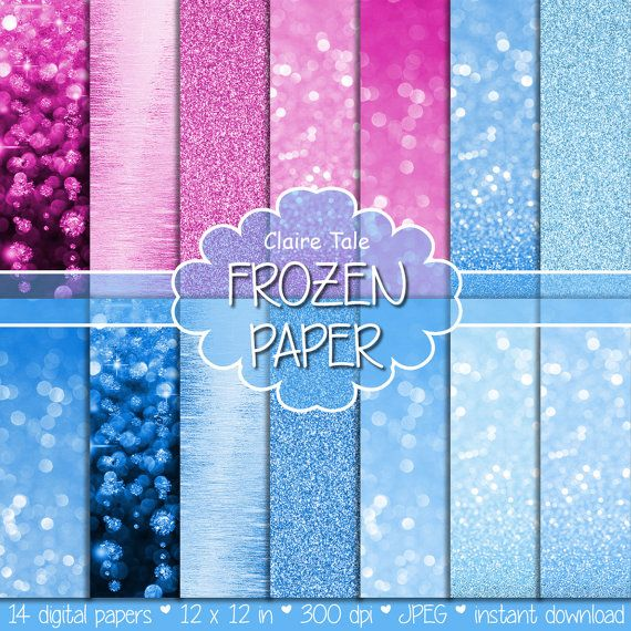 Bokeh and glitter frozen paper, pink and blue frozen background, frozen bokeh, frozen glitter, digital frozen texture, frozen scrapbooking