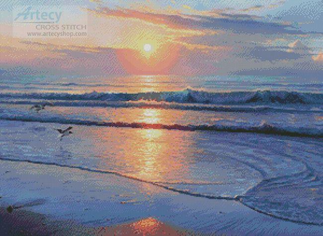 Artecy Cross Stitch. Serenity Beach Cross Stitch Pattern to print online.