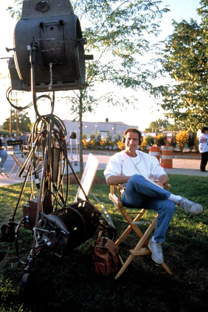 Screenwriter Paul Rudnick on the set, 1997   Essential Gay Themed Films To Watch, In And Out http://gay-themed-films.com/watch-in-and-out/