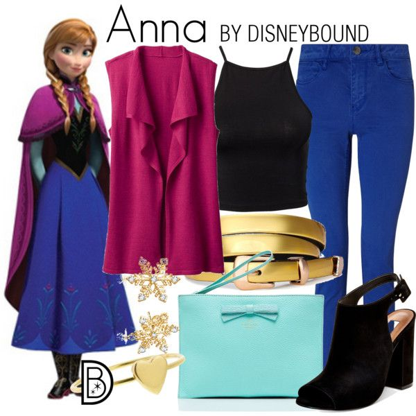 Anna: blue skinny jeans, black tank, black booties, and a magenta sweater with gold accessories.