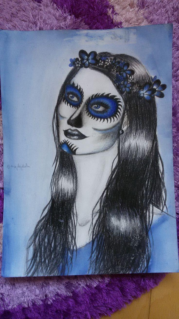 sugar skull colour pencils A4