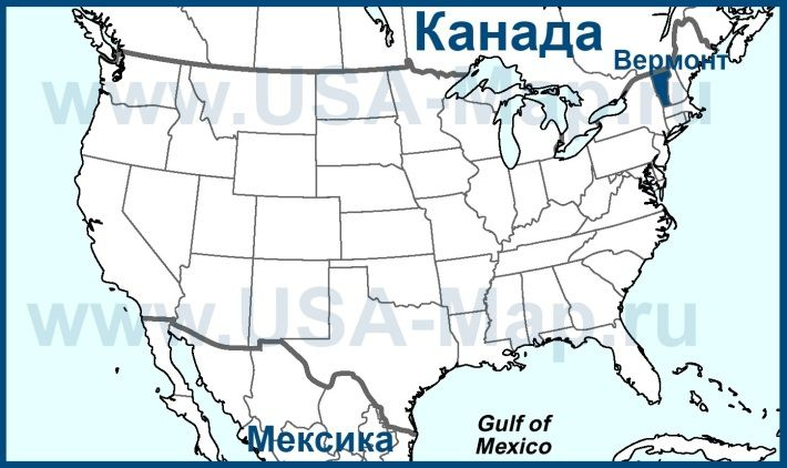 Вермонт на карте США