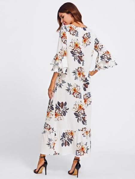 e300541e6d White Allover Floral Print Round Neckline A Line Layered Bell 3/4 Sleeve  Ruffle Hem Maxi Dress