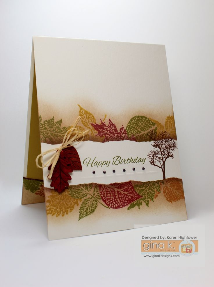 "Did some masking with this new Stamp Tv Kit ""Autumn Wishes"" I used 7 different Premium Dye Inks from Gina K. Designs to create this one. You can get these supplies at http://www.shop.ginakdesigns.com Made for Gina K. Designs  By: Karen Hightower #ginakdesigns #fall  #onelayer"
