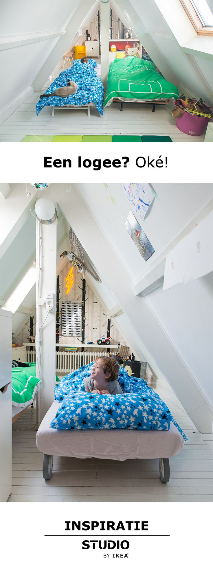 Een logee? Oké! | IKEA IKEAnederland wooninspiratie inspiratie kinderkamer zolderkamer kinderen kids kind spelen slapen