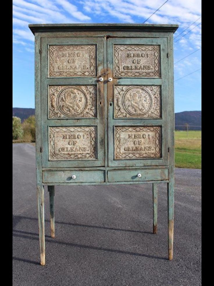 A pie safe in blue paint with 12 tins - 289 Best PRIMITIVE CABINETS Images On Pinterest Antique