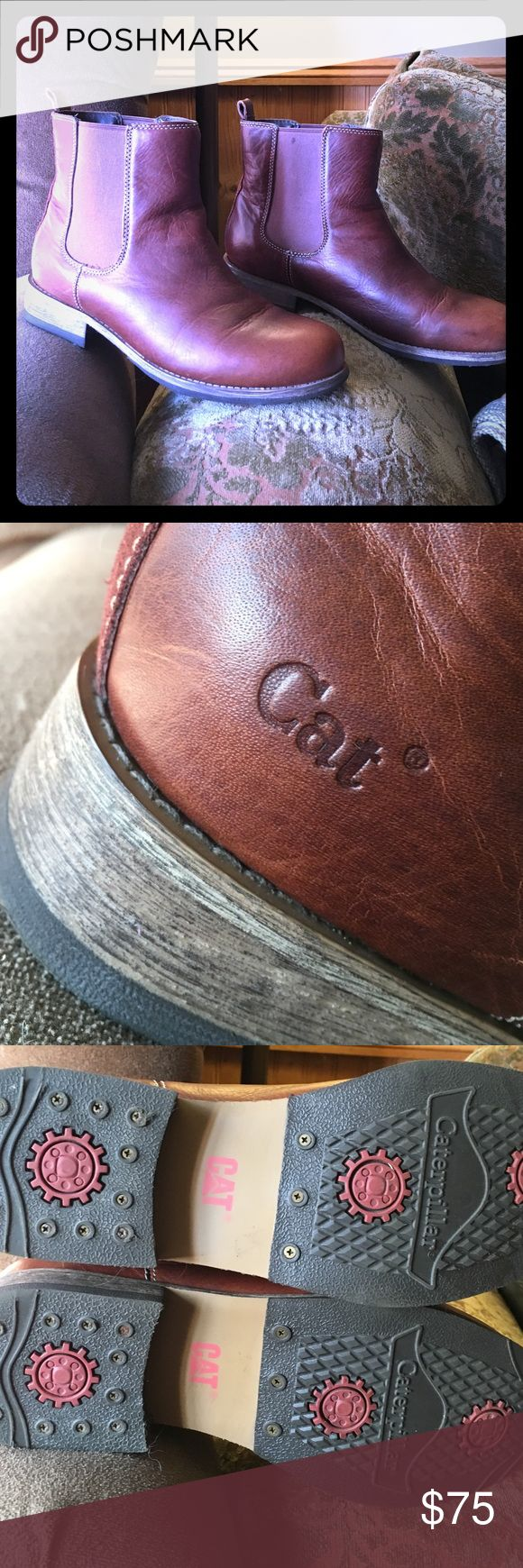 Caterpillar brand Chelsea boots☀️️ 9 These are a like new caterpillar brand Chelsea boots like I said like new maybe worn 1 time she was not sure if she just wore them around the house 🌻 they are a size 9 or euro 40 ❤️they are beautiful leather nice wooden heal☀️️☀️️☀️️☀️️☀️️☀️️☀️️please note size is a US size 9 UK size 7 or a euro size 40 it is a larger nine Caterpillar Shoes Ankle Boots & Booties
