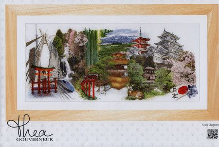 For M: Thea Gouverneur Japan (White Aida) - Cross Stitch Kit. Complete kit includes 18 Ct. White Aida, pattern, sorted floss, and needle. Finished size is 31 x 13 1/5.