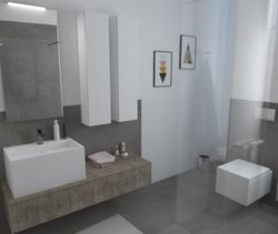 Contemporary Bathroom Design realized by Longo Style & Design with products by: Laminam, Tilelook, Fiora, Casabath, Geberit, Disegno Bagno, Lineabeta, Nobili, Simas, Roca, Natuzzi. Watch the 3D rendering 3D and other projects on Tilelook!