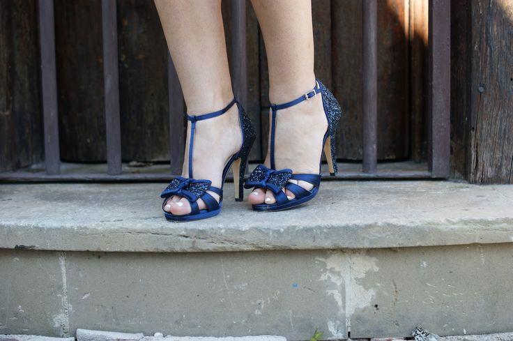 Sandalias combinación Raso y Glitter en azul marino