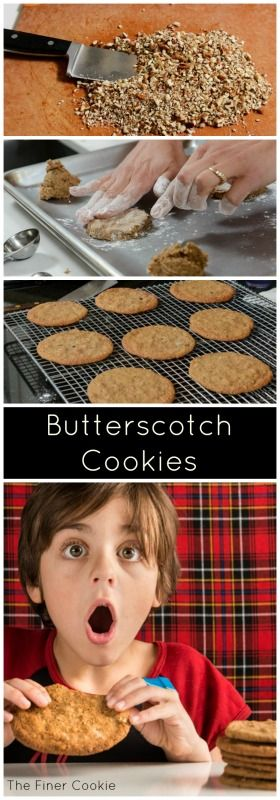 Kids drink their milk and pick up their toys to earn these giant, crispy Butterscotch Cookies!  Fragrant with cooked butter, brown sugar and milk, they embolden children to thieve them before lunch.