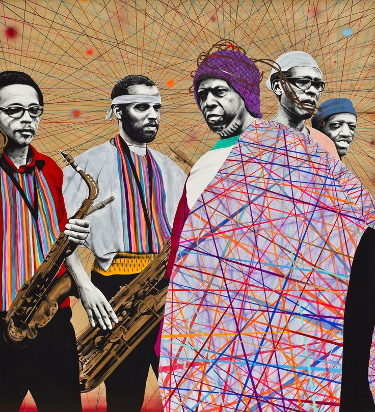 "A Joyful Noise (Sun Ra)  Acrylic and gouache on wood panel, 48"" X 36"", 2013 $3,750"