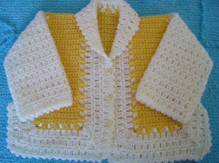 Este é um casaquinho fácil de fazer e muito bonito, basta conhecer ponto baixo e alto em crochê. Materiais: lã própria p/ roupinha de bebê...