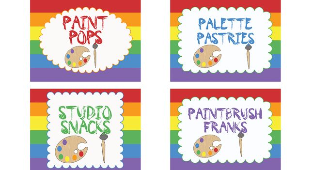 Art Party Food Labels - http://www.pbs.org/parents/birthday-parties/art-birthday-party/printables/art-party-food-labels/