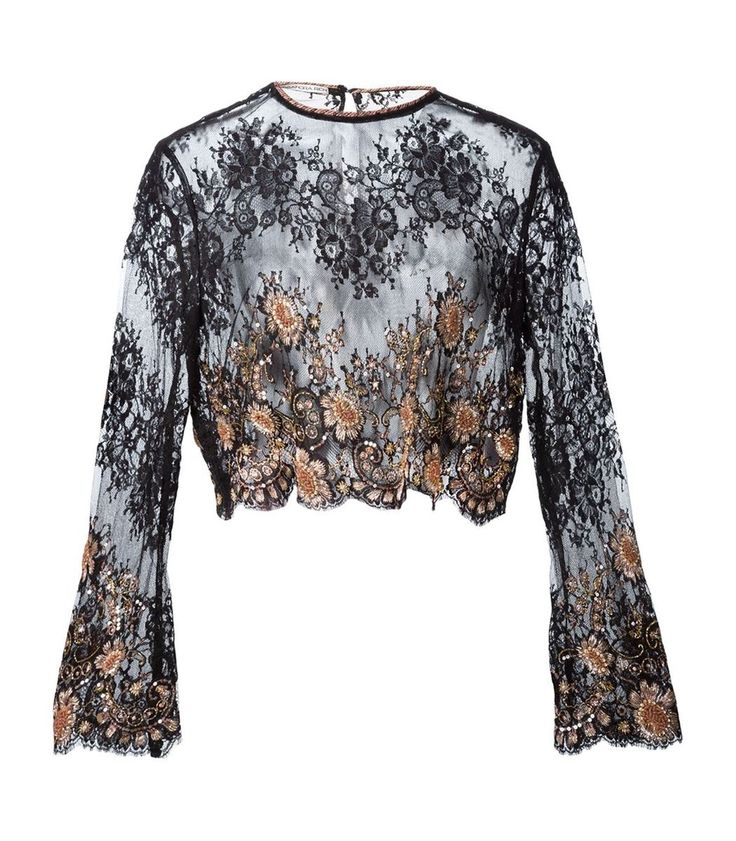 Alessandra Rich Embellished Lace Blouse