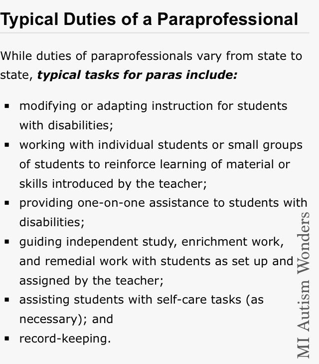 "#Autism / #Education Information... An ""Aide"" is different than a ""ParaProfessional"" an aide can be a volunteer or a parent.  #MIAutismWonders www.facebook.com/miautismwonders"