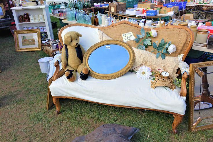Antique sofa, teddy & mirror at Ardingly International Antiques & Collectors Fair