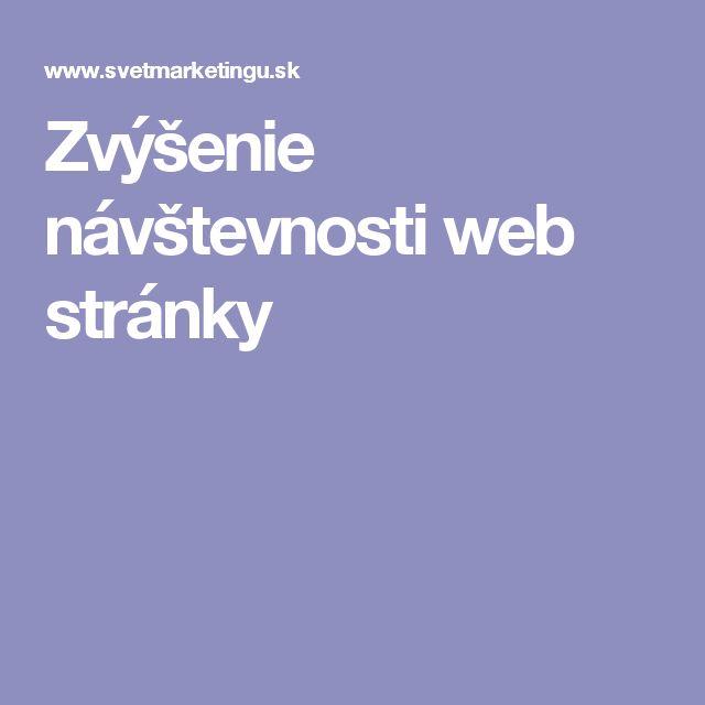 Zvýšenie návštevnosti web stránky