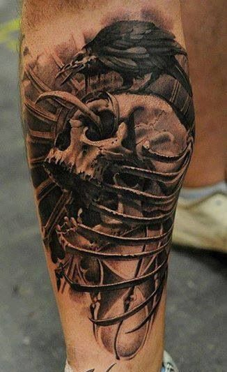 Skull tattoo tattoo pinterest skull tattoos skulls for Ravens face tattoos