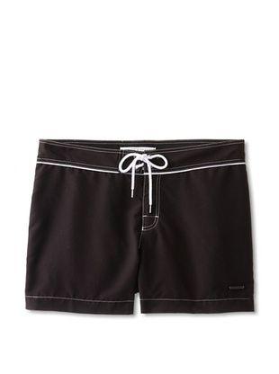 68% OFF Parke & Ronen Men's 4-Inch Inseam Swim Short (Black Solid Microfiber)