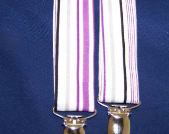 MENS SUSPENDERS - ADJUSTABLE - Purple and white striped- Wedding Suspenders other colors available